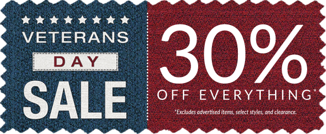 Veterans Day Sale - 30% off Everything!